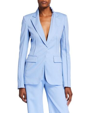 Pintuck Wool Blazer Jacket