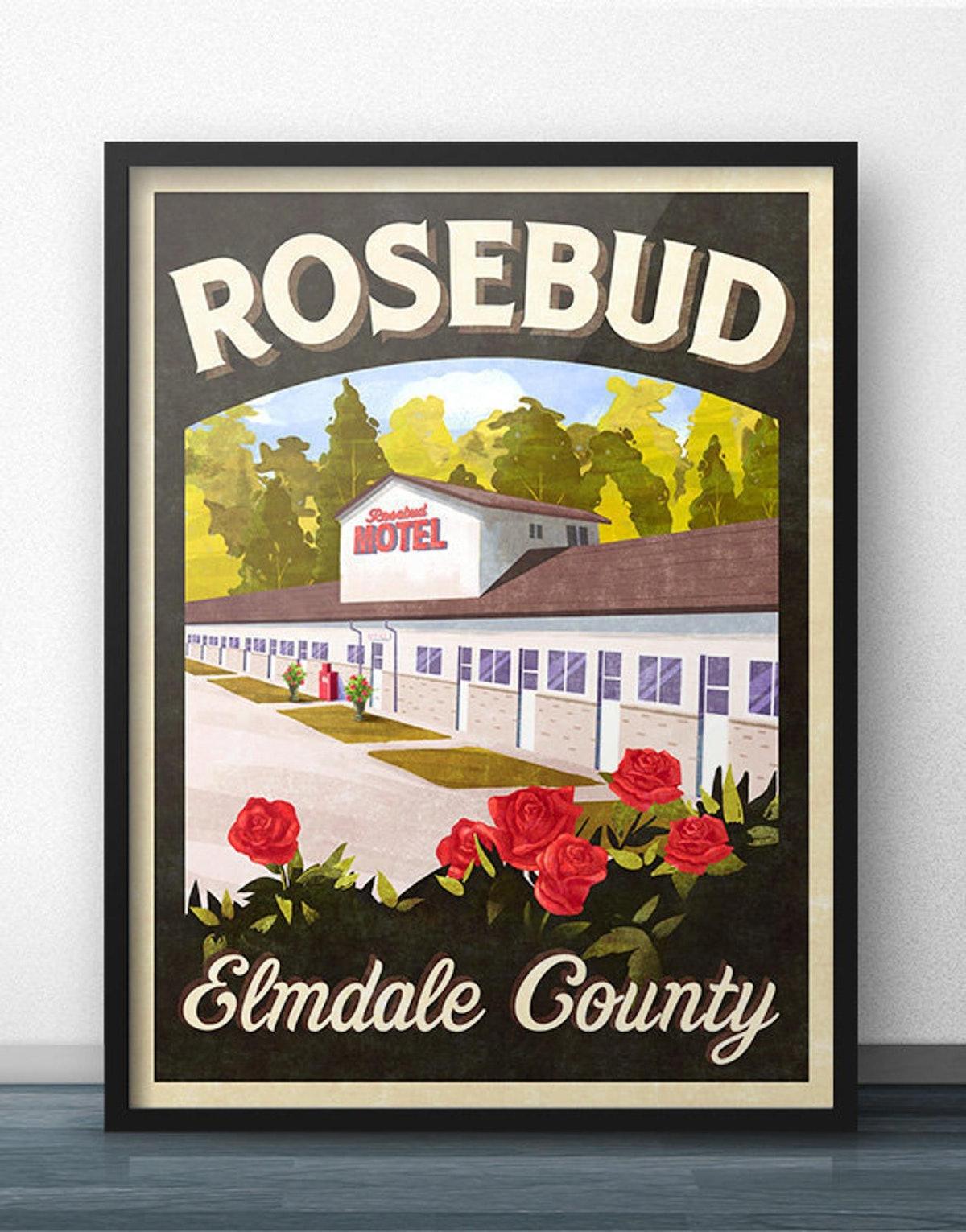 Rosebud Motel Vintage Travel Poster