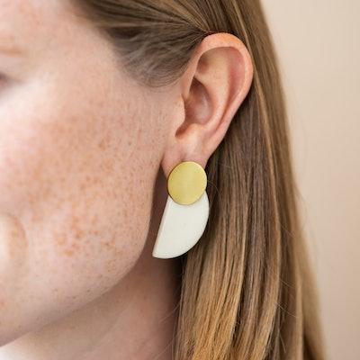 Ivory Ceramic Half Circle Post Earrings