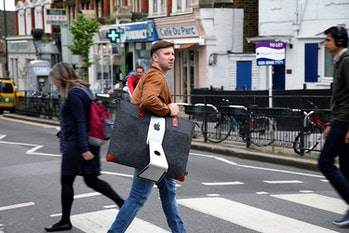 I swear I've seen people in NYC wear their iMacs around like a bag. I don't know why, but this is impractical when the computer weighs 20 pounds.