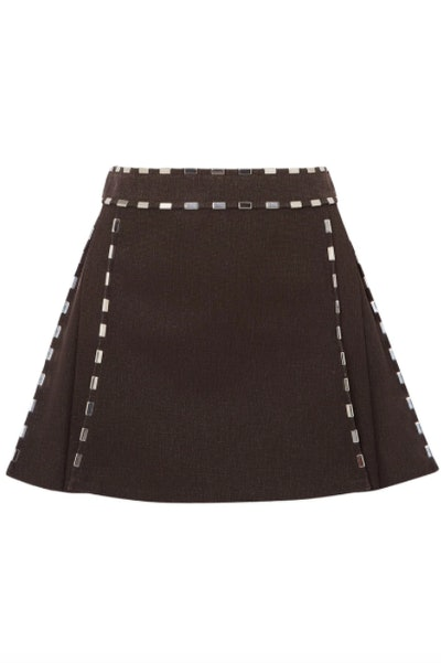 Chloe Embellished cotton-canvas mini skirt