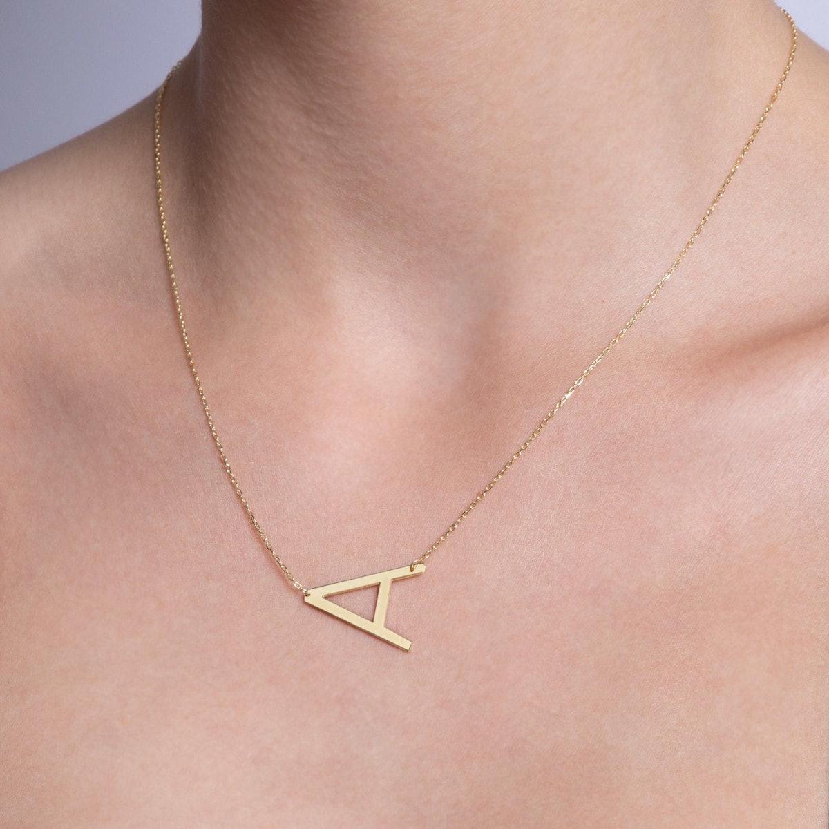 Sideways Initial Necklace