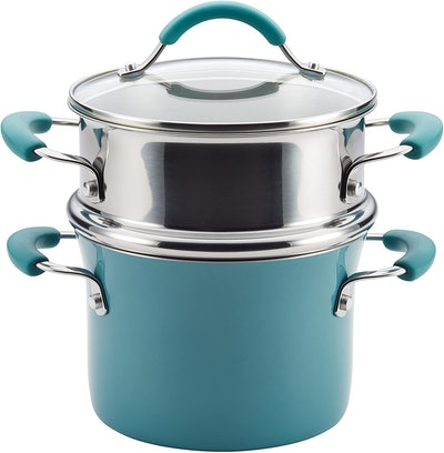 Rachael Ray Cucina Nonstick Saucepot with Steamer Insert and Lid (3 Quarts)