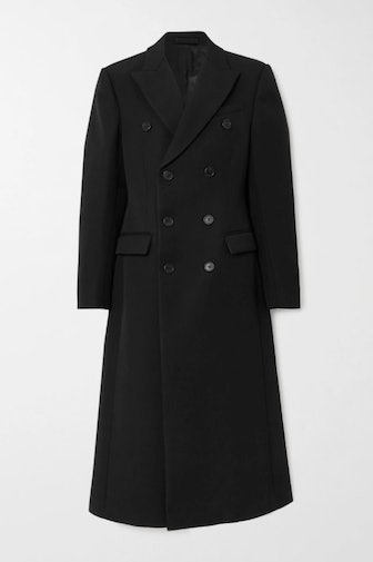Double-breasted wool-twill coat