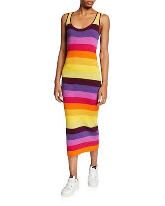 Prismatic Ribbed Tank Dress