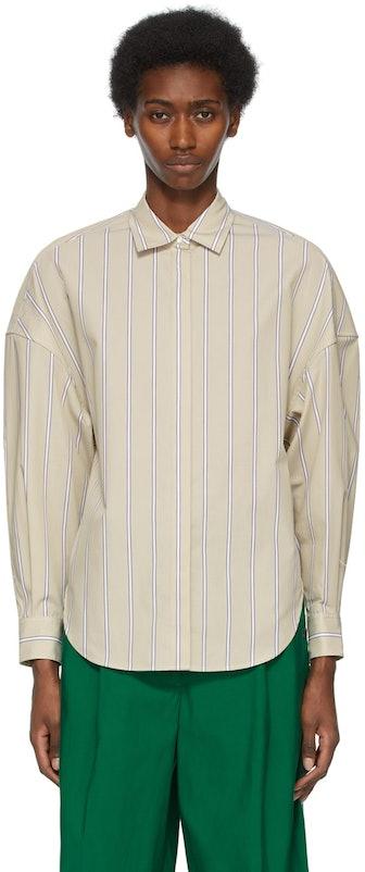 Tan Striped Button-Up Shirt