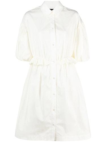 Ruffled Puff-Sleeve Shirtdress