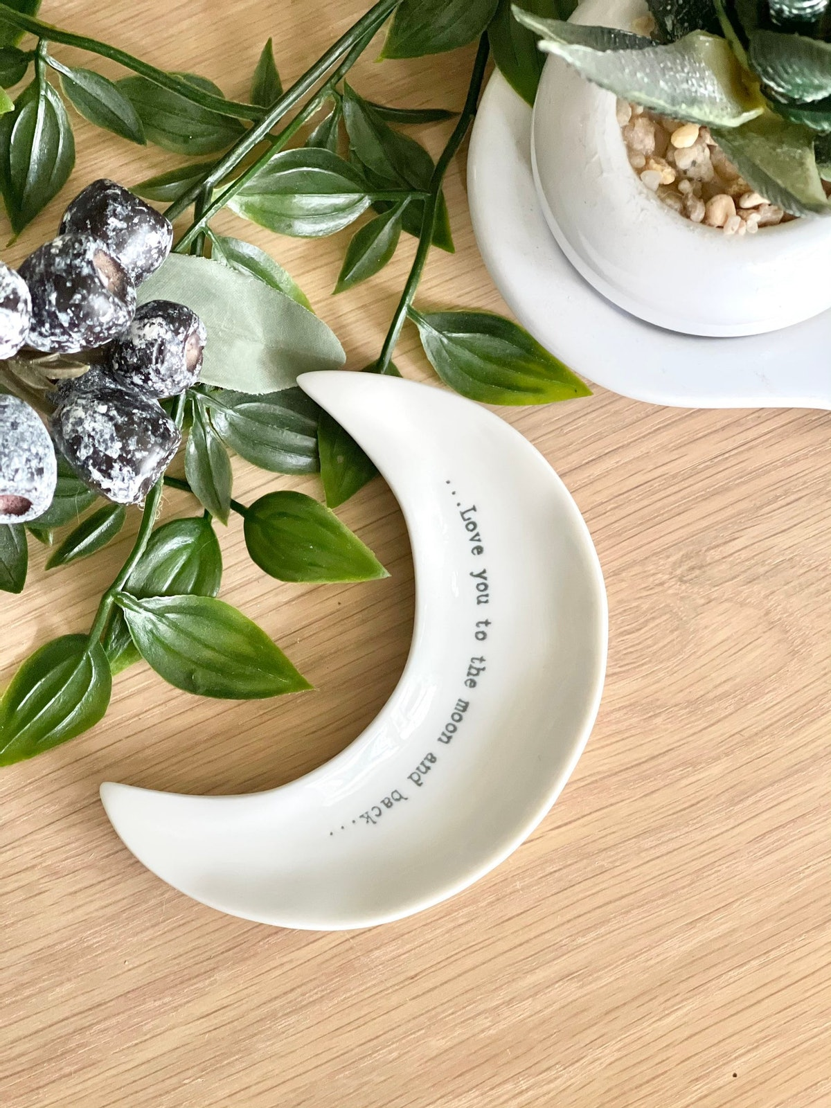 East of India little Porcelain Moon Dish, 'Love you to the moon and back'
