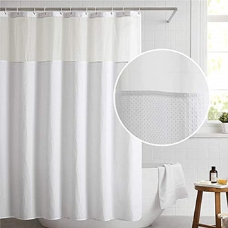 Bedsure Waffle Weave Fabric Shower Curtain