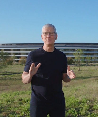 Apple's Tim Cook during  a major product event.  iOS. iPhones. Software.