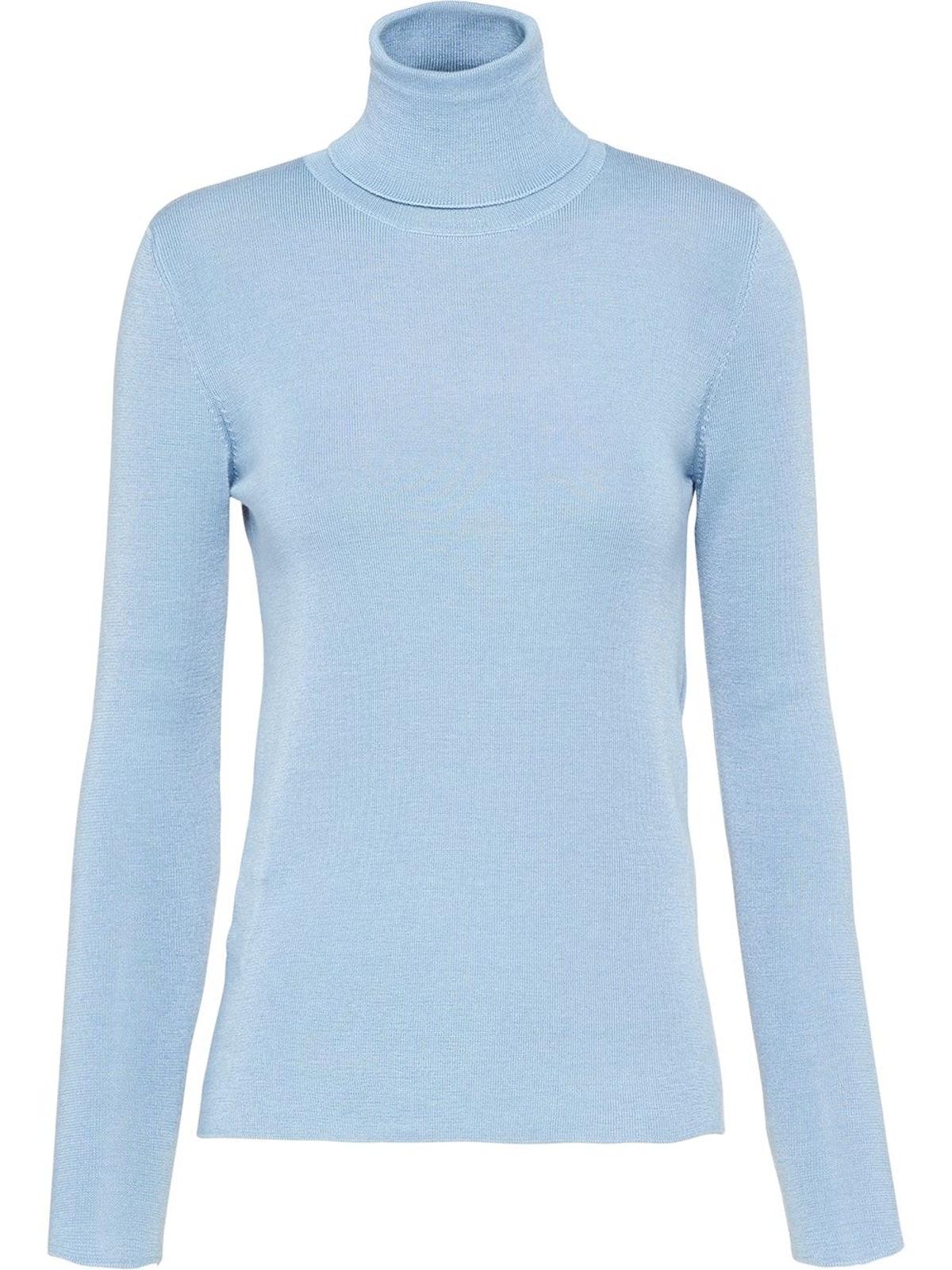 Blue Turtleneck Knitted Jumper