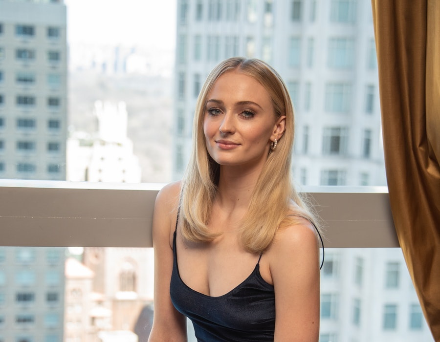 """NEW YORK, NEW YORK - APRIL 04: Sophie Turner at the """"Game Of Thrones"""" Press Conference at the Mandarin Oriental Hotel on April 04, 2019 in New York City."""