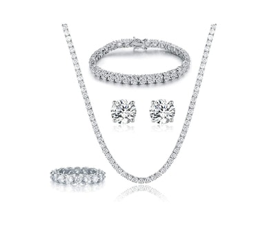 GEMSME 18K White Gold Plated Tennis Necklace/Bracelet/Earrings/Band Ring Set (4 Pieces)