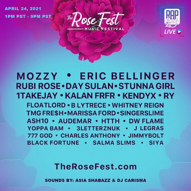 The lineup flyer for The Rose Fest.