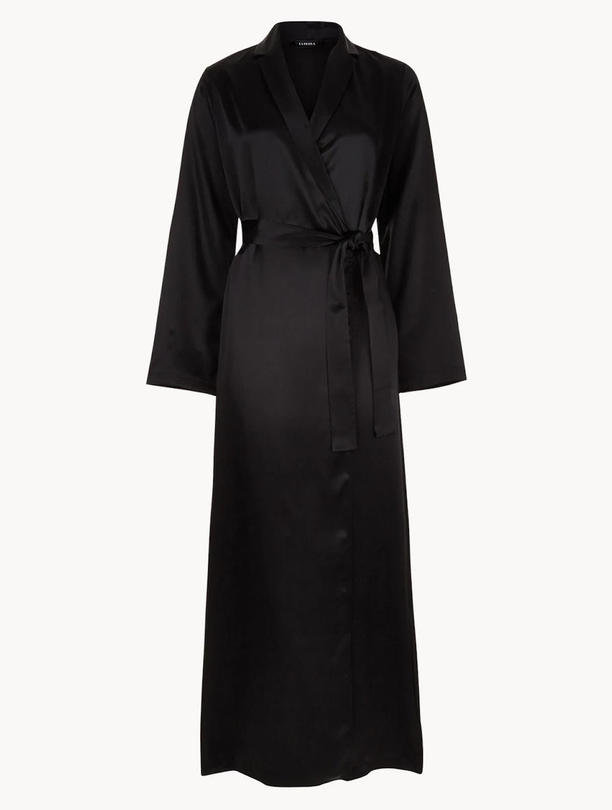 Black Silk Long Robe