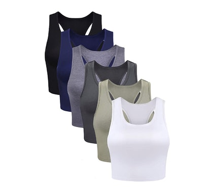 Boao Basic Crop Tank Tops (6-Pack)
