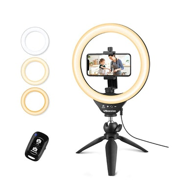 """UBeesize 10"""" Selfie Ring Light with Tripod Stand"""