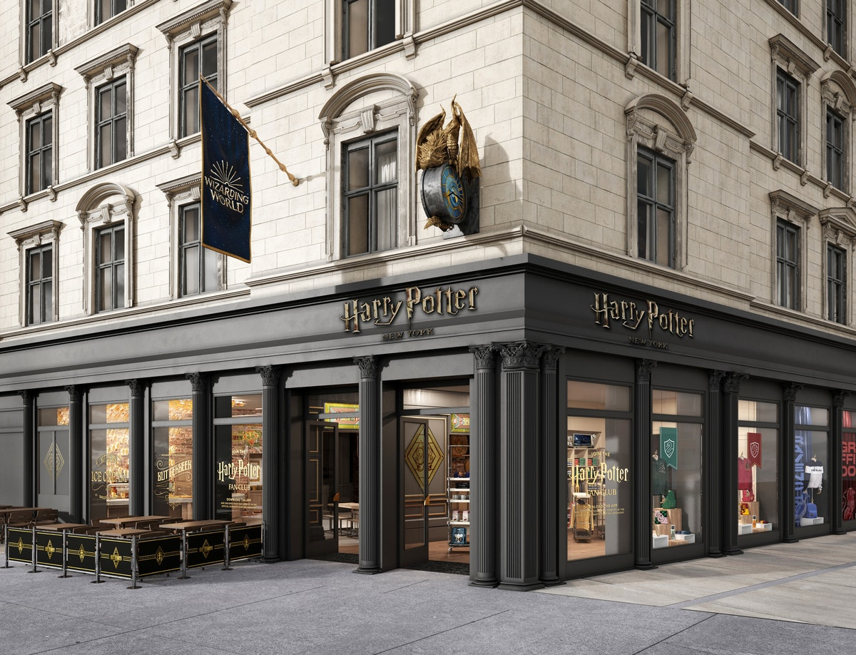 A concept shot of the Harry Potter New York store sits on a corner in New York City.