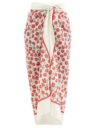 Lavanda Floral-Print Cotton-Voile Sarong