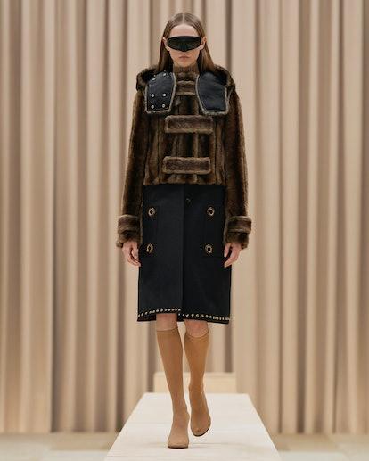 Model walks in Burberry's Fall/Winter 2021 show.