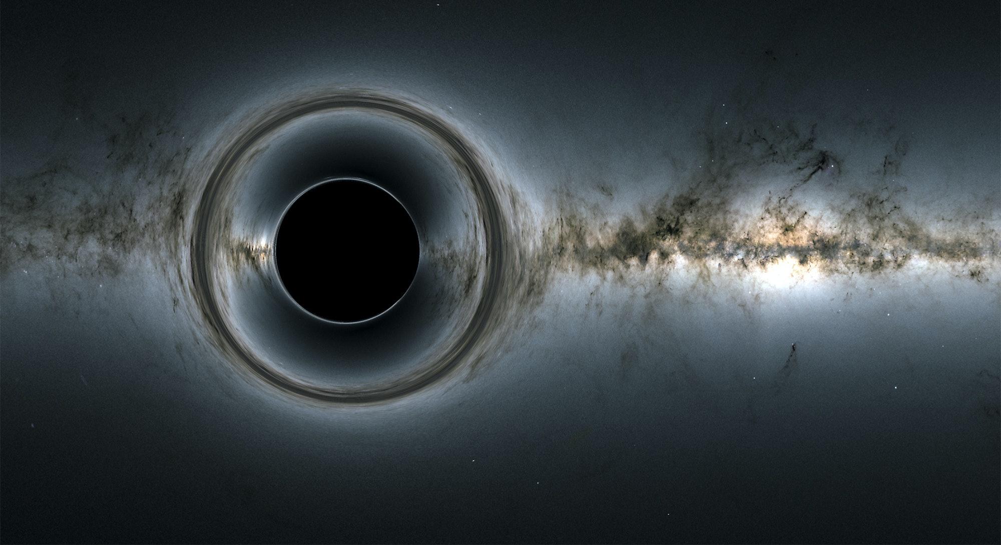 illustration of black hole distorting light