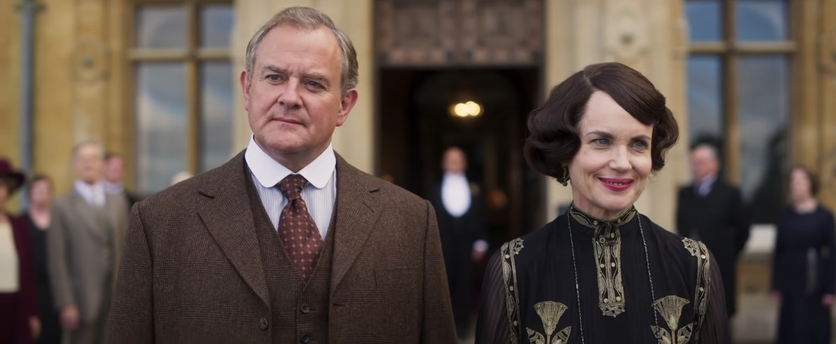 Robert Crawley and Cora Crawley stand before Downton in 'Downton Abbey.'