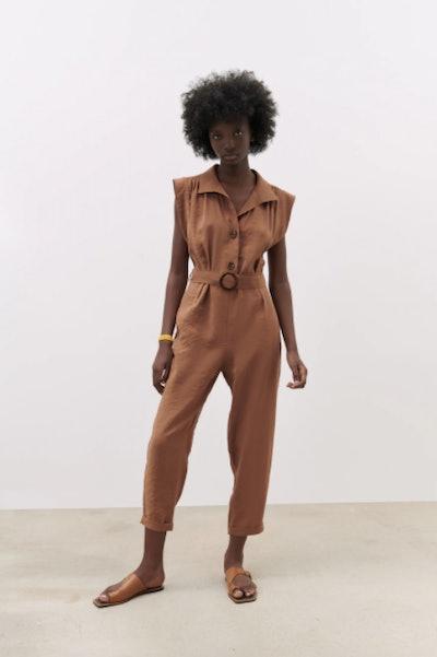 Long Belted Jumpsuit