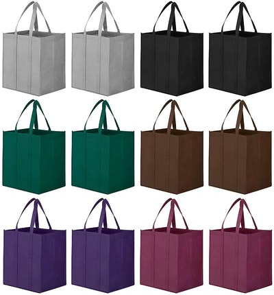 WiseLife Reusable Grocery Bags (12-Pack)