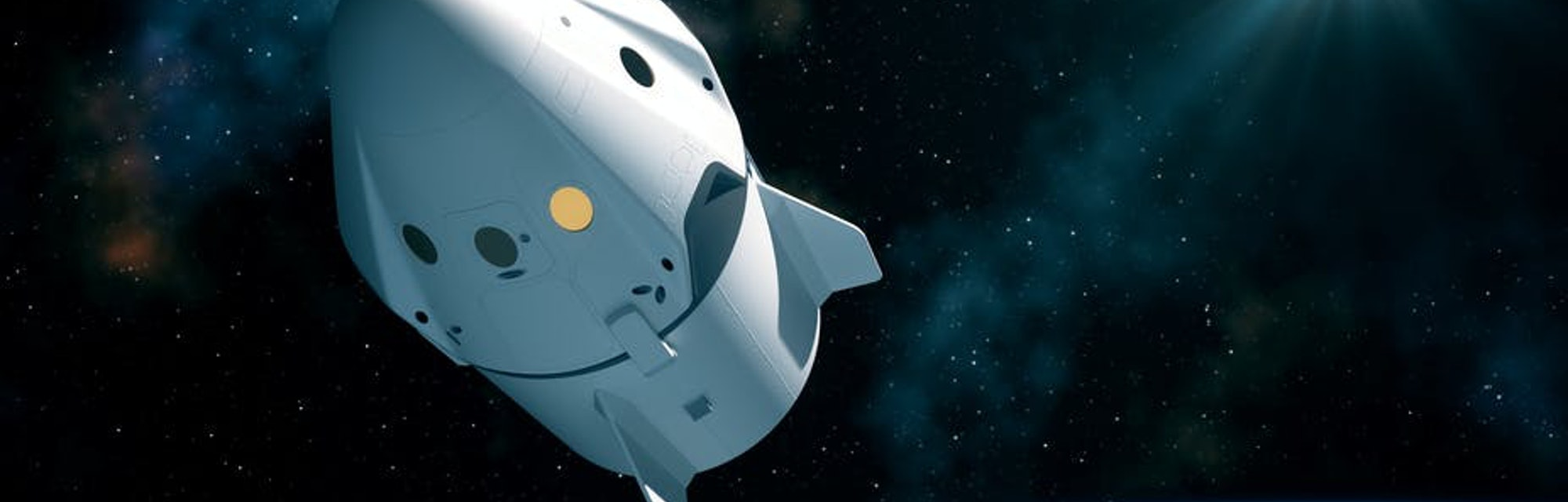 A capsular spacecraft, similar to this, will bring Crew Dragon into space.