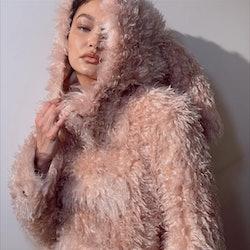 Gigi Hadid in Burberry Fall/Winter 2021 coat.