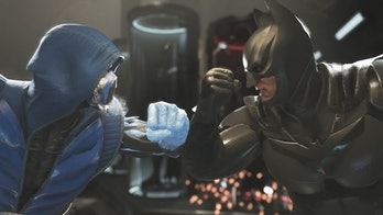 Sub-Zero takes on Batman in the fighting video game Injustice 2.