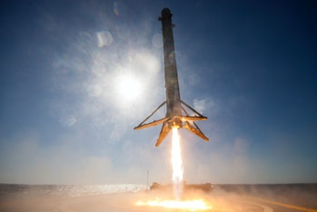"""SpaceX's CRS-8 rocket coming in to land on the drone ship """"Of Course I Still Love You."""""""