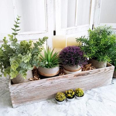 Windiy Rustic Rectangle Wood Planter Box  (1-Pcs)