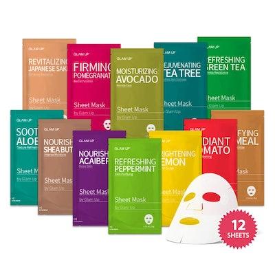 Glam Up Facial Sheet Masks (12-Pack)