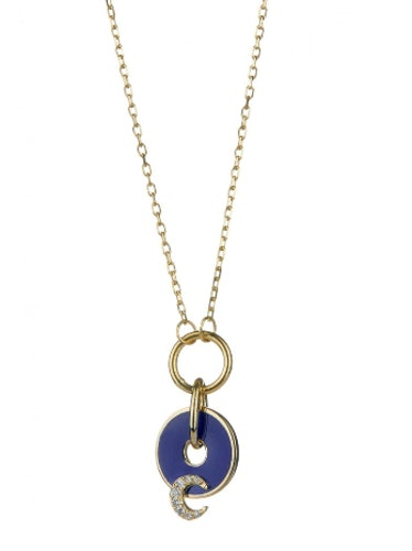 Blue Crescent Disk Drop Necklace