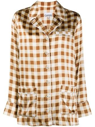 Checked Silk Pyjama Shirt