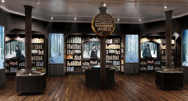 There is a wand shop in the Harry Potter New York flagship store with tons of wands from the movies.