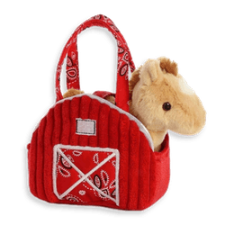 Aurora Red Barn Fancy Pals Pet Carrier with Plush Horse