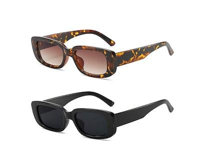 KUGUAOK Retro Rectangle Sunglasses