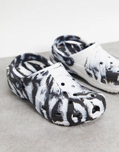 Crocs classic shoes marble print shoes in black and white