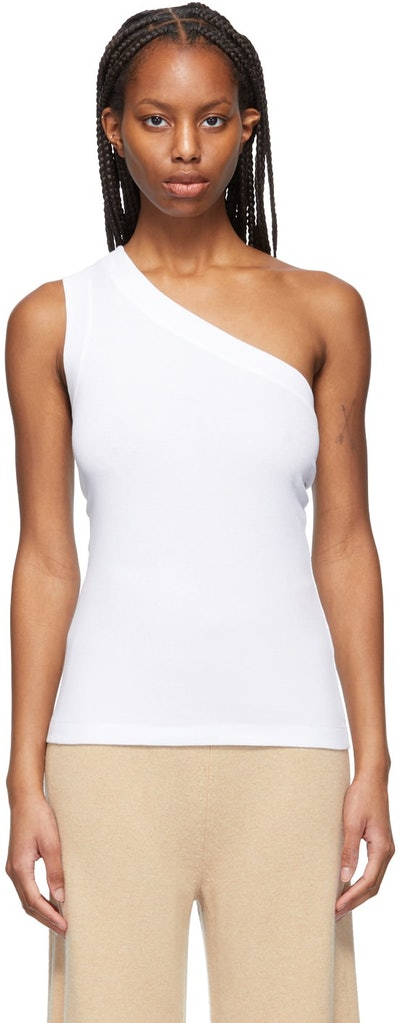 White One-Shoulder Tank Top
