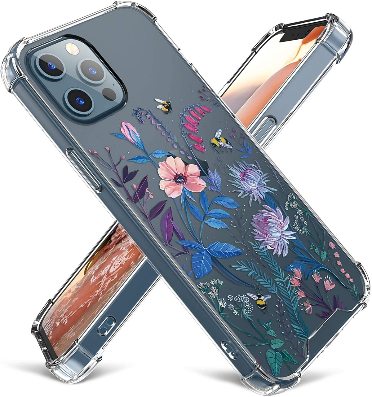 Cutebe Clear Case for iPhone 12 Blue Floral Design
