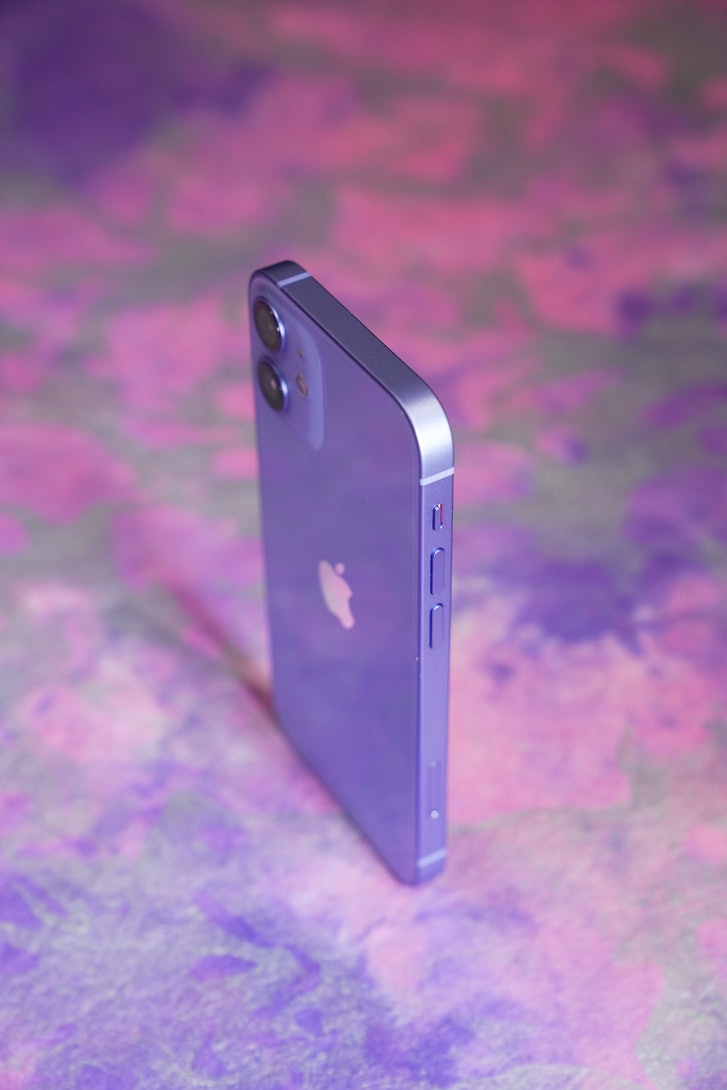 Purple iPhone 12 review aluminum design glass back