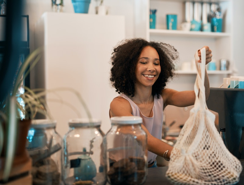 Woman in a plastic-free store