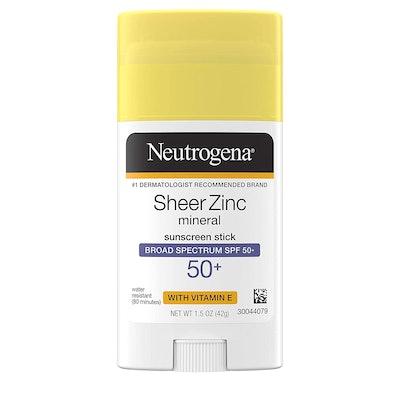 Neutrogena Sheer Zinc Mineral Sunscreen Stick Broad Spectrum SPF 50+ (1.5 Oz)
