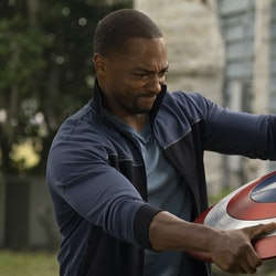 Sam wields the shield in 'The Falcon and the Winter Soldier' via Disney+ press site.