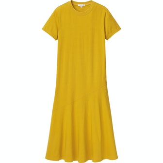 Cotton Short-Sleeve Fluid Hem Dress