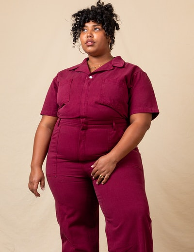 Short-Sleeve Jumpsuit In Cranberry Red