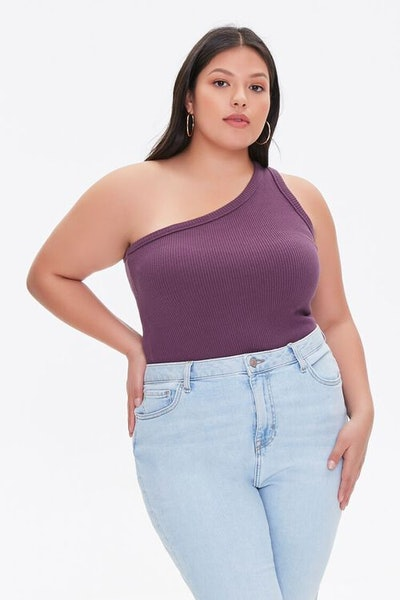 Plus Size One-Shoulder Crop Top