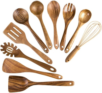 XDOWMOADT 10-Piece Teak Wooden Utensil Set